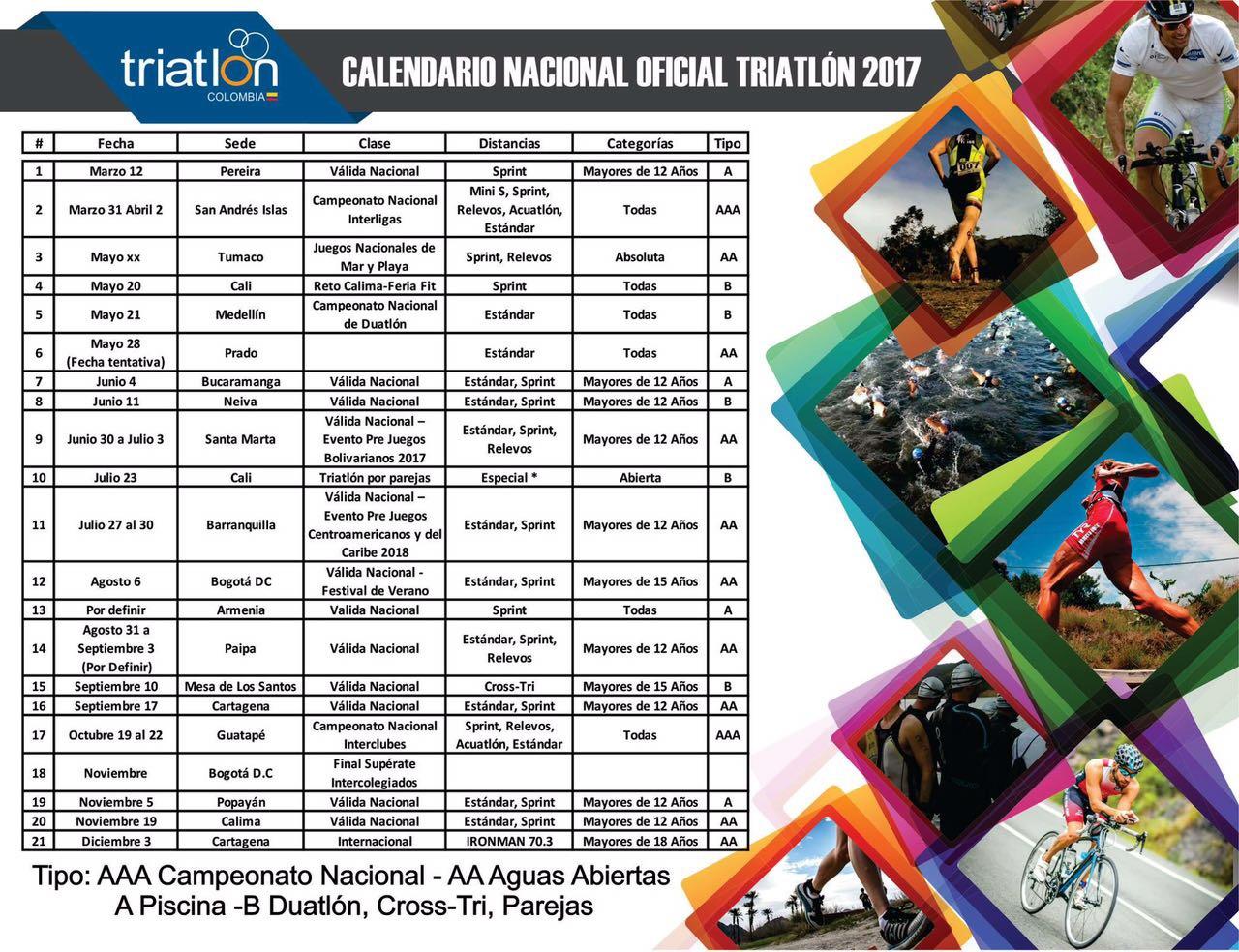 Calendario Triatlon 2019.Calendario Nacional Oficial Triatlon 2017 Colombia Mejor Real